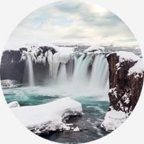 Wasserfall Godafoss im Winter