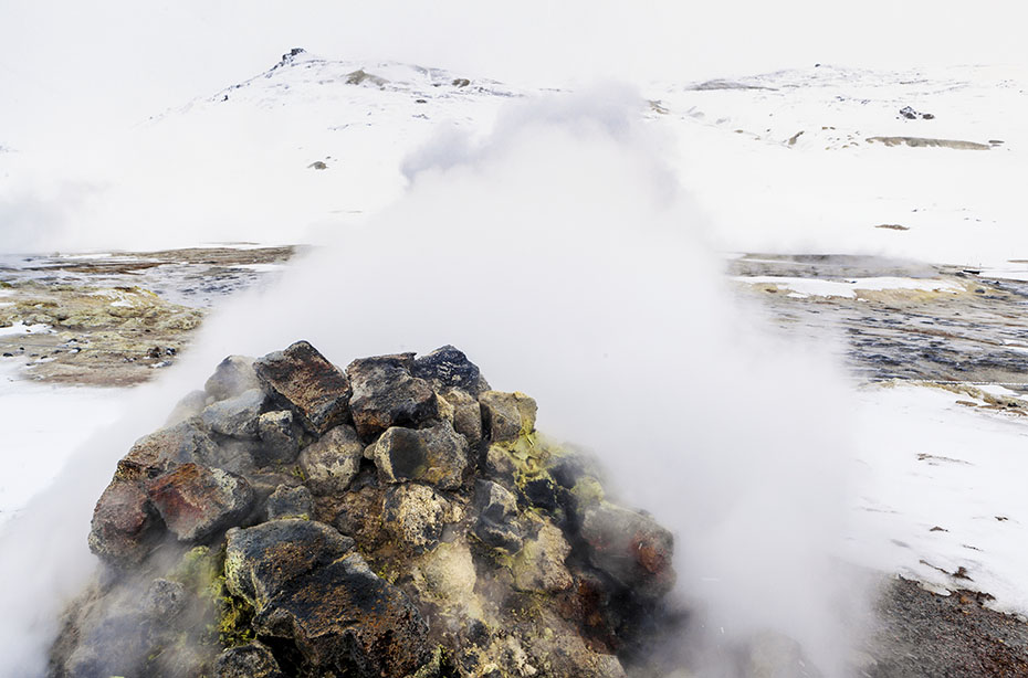 Fumarole in Hverarönð im Winter