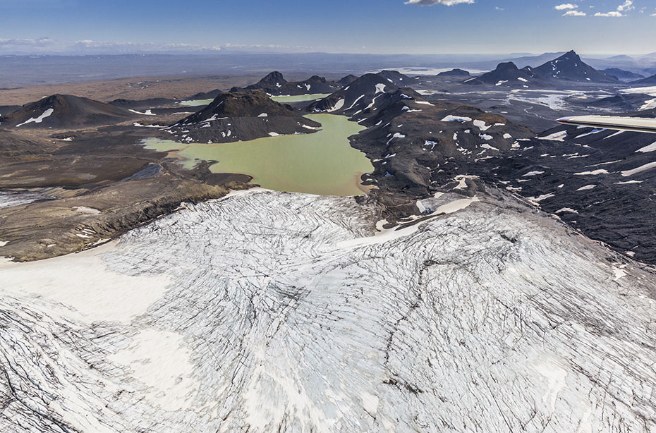 Blick über den Langjökull-Gletscher auf den Hvítárvatn