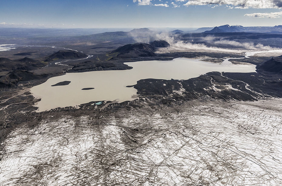 Luftaufnahme über den Langjökull-Gletscher