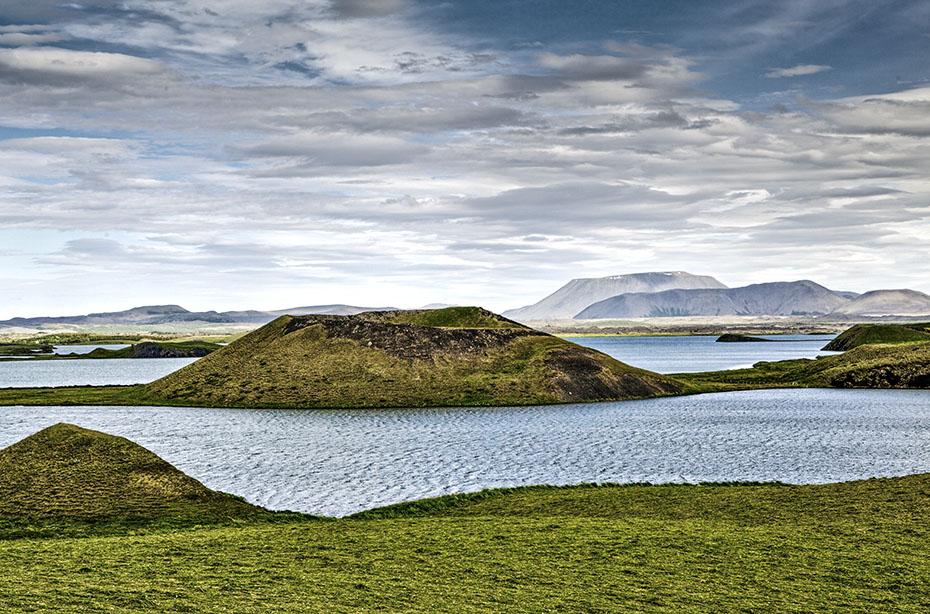 Pseudokrater im See Mývatn