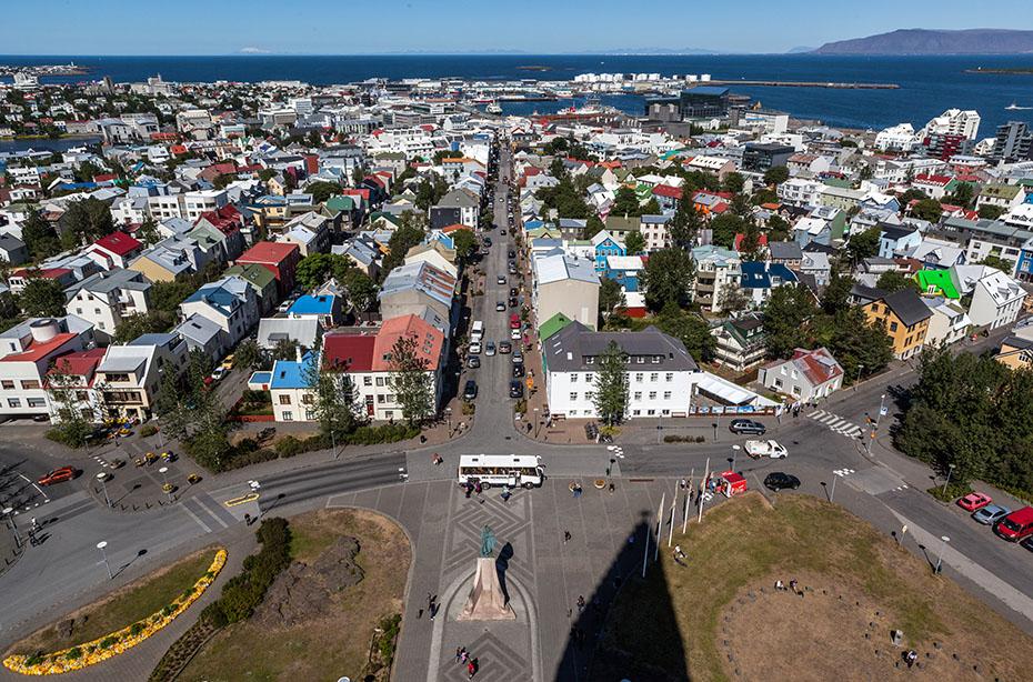 Blick auf Reykjavík vom Turm der Hallgrímskirkja