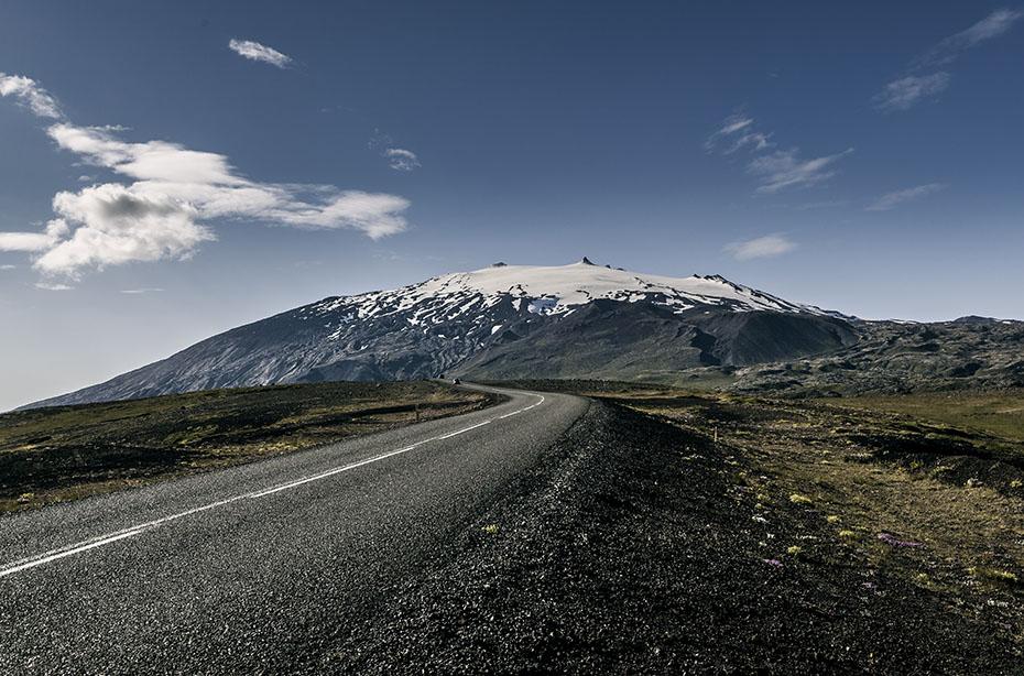 Der Snæfellsjökull von der Straße 574 aus