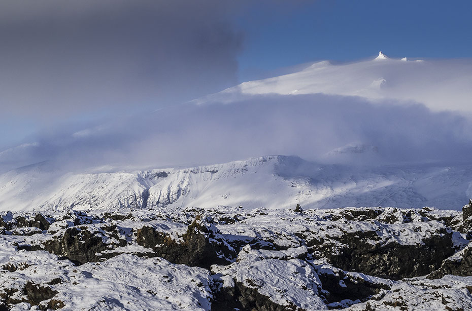Der Gipfel des Snaefellsjökull im Winter