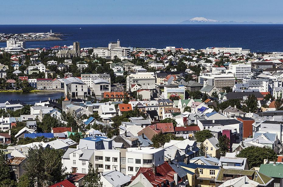 Blick von Reykjavík auf den Snaefellsjökull