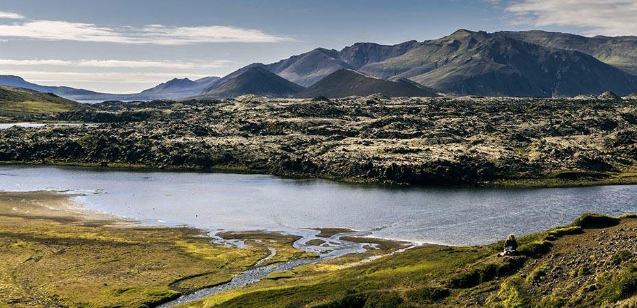 Lavafeld Berserkjahraun und See Selvallavatn
