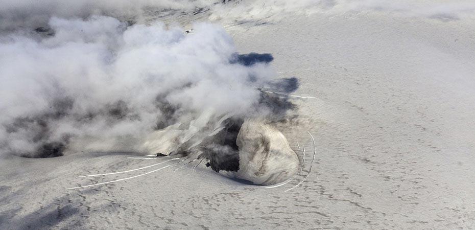 Rauchsäule über dem Eyjafjallajökull