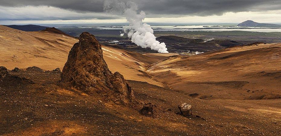 Blick vom Námafjall auf den Mývatn