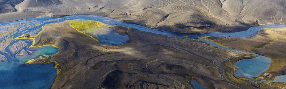 Island-Reisen: Luftbild vom Isländischen Hochland