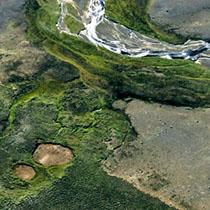 Luftaufname vom isländischen Hochland