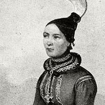 historische Illustration: isländische Tracht