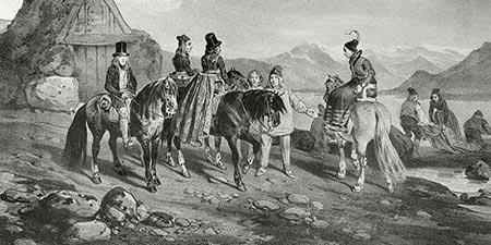 Islandpferde in einer historischen Illustration