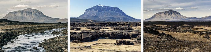 3 Ansichten des Vulkans Herðubreið