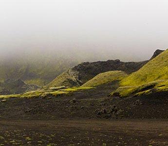 Laki-Krater im Nebel