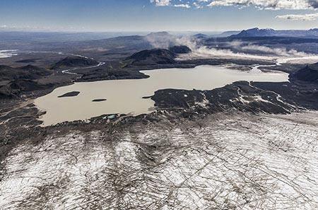 Luftbild über den Langjökull-Gletscher