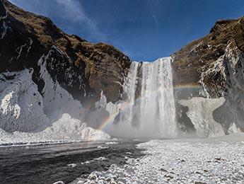 Neujahr & Polarlichter: Wasserfall Skogafoss