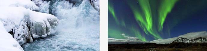 gefrorener Wasserfall und Polarlichter