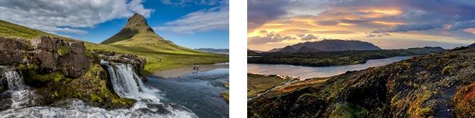 Kirkjufellsfoss und Landschaft auf Snaefellsnes