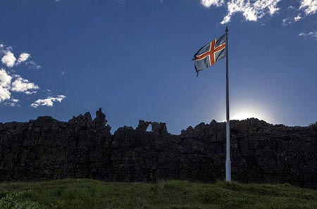 Nationalflagge Islands in Þingvellir