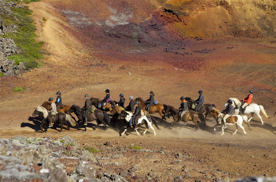 Pferde und Reiter Snæfellsnes