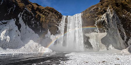 Skogafoss im Winter