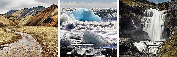Islandreisen Landmannalaugar Jökulsarlon Wasserfall
